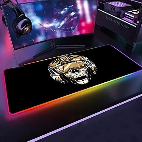 Alfombrilla de ratón Gaming Anime Cool Skull con tapa de vuelo, alfombrilla de ratón RGB con base de goma antideslizante, alfombrilla de ratón luminosa LED colorida para PC 1000 x 500 mm