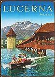 sfasf Placa de metal de Lucerna Svizzera para decoración de bares, cafeterías, oficinas, hoteles y hogares, 30,5 x 20,3 cm