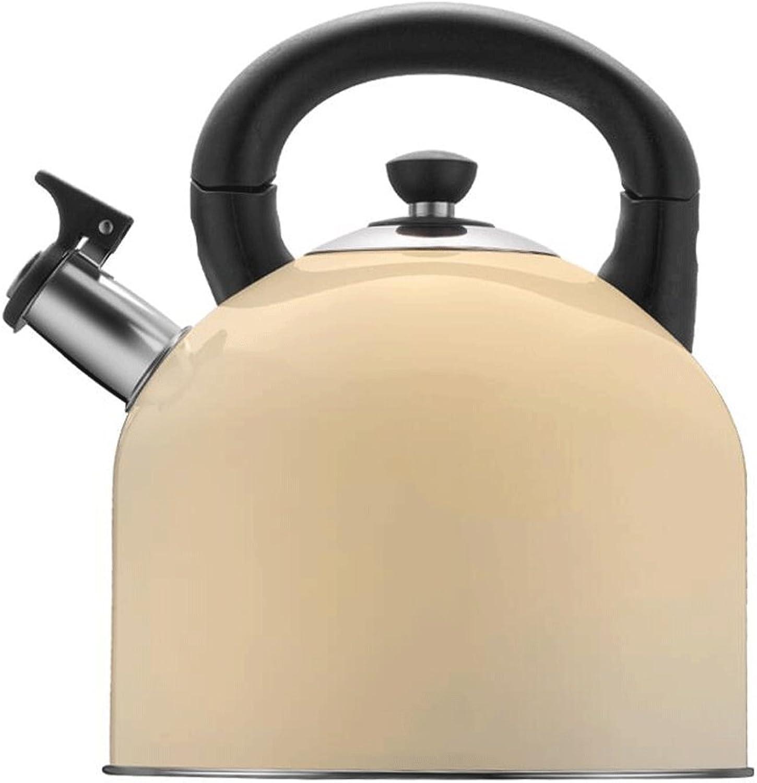 Hervidores ZLR Hogar Agua 304 Botella de Agua de Silbato de Gran Capacidad Cocina de inducción de Gas Cocina de Gas Universal 4l (Color   Beige)