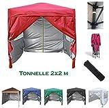 mcc direct Gazébo/Pavillon/Tente/Tonnelle/Auvent Pliable et résistant à l'Eau, 2x2m, avec Couche protectrice argentée (Rouge)