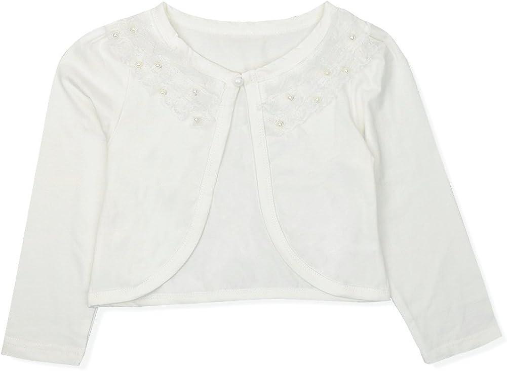 easyforever Kids Girls Long Sleeve Faux Pearl Bolero Shrug Cardigan Short Jacket Flower Girls Dress Cover Up