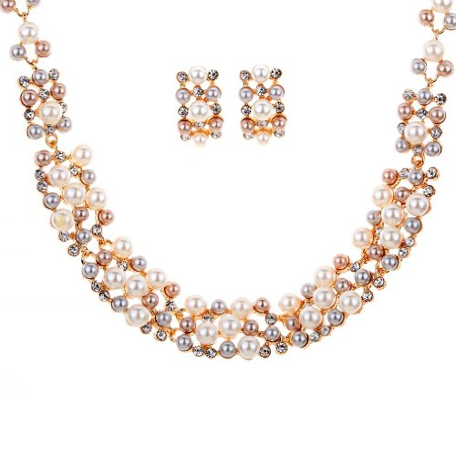 YAZILIND Gold Plated Cream Faux Pearl Crystal Collar Chunky Bib Earrings Necklace Jewelry Set