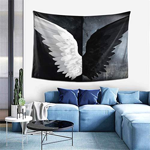 BCVDGFKJ Tapiz de alas de ángel blanco negro para colgar en la pared para sala de estar, dormitorio, decoración de arte del hogar (152 x 101 cm)