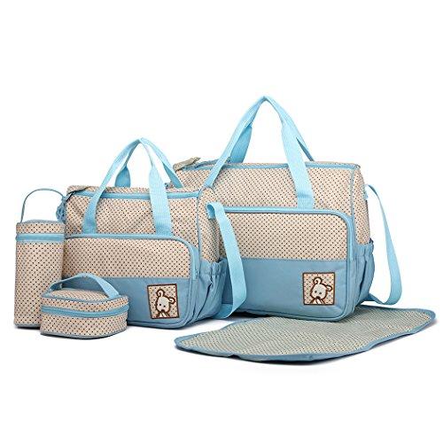 Miss Lulu 5er-Set Baby Wickeltasche Babytasche Tasche Mutter Windeltasche Handtasche Schultertasche Flaschenhalter mit wickelunterlage (Blau)