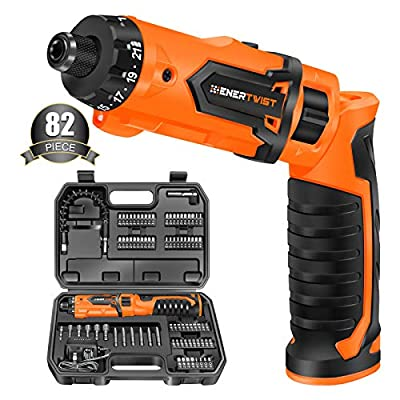 Enertwist Cordless Screwdriver, 8V Max 10Nm Electric Screwdriver Rechargeable Set with 82 Accessory Kit and Charger in Carrying Case, 21+1 Cluth, Dual Position Handle, LED Light, ET-CS-8 by ENERTWIST