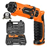 Enertwist Cordless Screwdriver, 8V Max 10Nm Electric Screwdriver Rechargeable Set with 82 Accessory Kit and Charger in Carrying Case, 21+1 Cluth, Dual Position Handle, LED Light, ET-CS-8