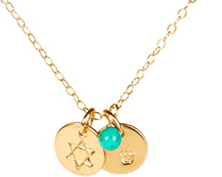 Tiny Star of David Necklace with Personalized Hebrew Initial and Birth Month Charm, Gold Filled