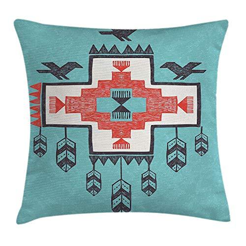 Dutars Funda de cojín de decoración nativa americana, diseño étnico, tribal azteca dibujado a mano Dreamcatcher, iconos folklóricos, imagen de pájaros, decoración cuadrada, 45,7 x 45,7 cm, multicolor