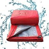 BAOFI Lonas Impermeables Exterior Toldo De 11 Milipulgadas/Tejido del Automóvil Lonas De Protección/Reversible, Polietileno Espesado para Exteriores Rojo/Plateado Lona Rain Exo,6x12Feet/2x4m
