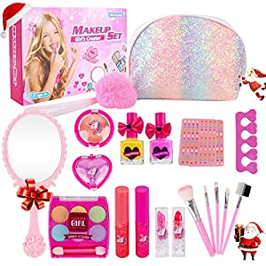 Beauty Shopping Girl Makeup Kit – Kids Real Washable Play Makeup Toy for Toddler Gifts Age 2 3 4 5 6 7, Child Pretend Princess Cosmetics…