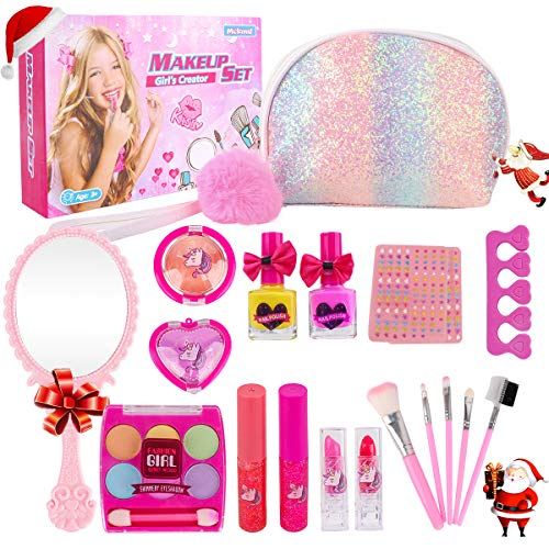 Girl Makeup Kit - Kids Real Washable Play Makeup Toy for Toddler Gifts Age 2 3 4 5 6 7, Child Pretend Princess Cosmetics Set with Glitter Purse, Nail Polish, Make up Brush, Eyeshadow, Lip Gloss, Blush