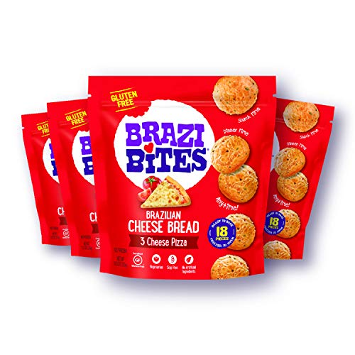 Brazi Bites Gluten-Free Brazilian Cheese Bread: 3 Cheese Pizza | Vegetarian Frozen Bread Snacks | Soy-Free | No Artificial Ingredients | No Preservatives | 11.5 oz. pouches (4-pack)