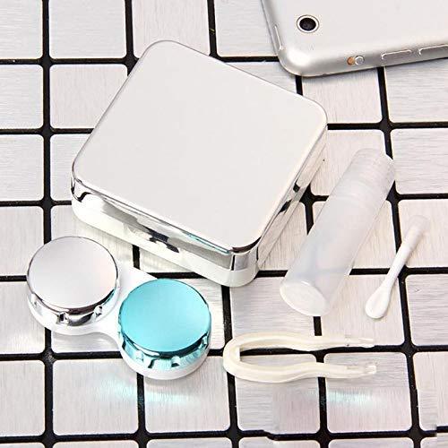 Vaugan Kontaktlinsen Halter Augen Pflege Brillengläser Behälter Etui Spiegel Box - Silbern