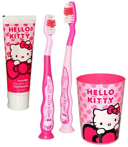 alles-meine.de GmbH 4 TLG. Zahnputzset -  Hello Kitty  - mit 2 Zahnbürsten & Zahnputzbecher & Zahncreme - Saugnapf - Kinder & Baby _ hochwertige Borsten - Babyzahnbürste & Kind..