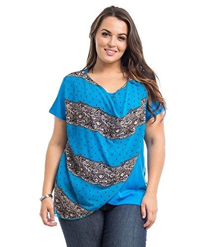 Dila Womens Knit Top Plus Size Chiffon Overlay Short Sleeve Scoop Neck Dila  via @amazon