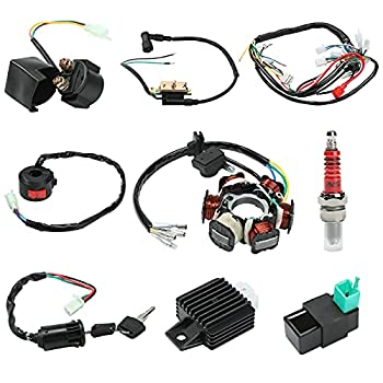 Everrich Quad Wire Harness Complete Wiring Harness Complete Electrics Stator Coil CDI Wiring Harness Solenoid Relay Spark Plug for 4 Stroke ATV 50cc 70cc 90cc 110cc 125cc Pit Quad Dirt Bike Go Kart Parts Scooter Moped Parts