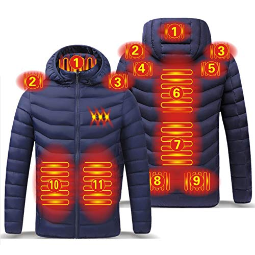 Yeah-hhi Chaqueta térmica para hombre al aire libre con calefacción eléctrica USB Invierno Poliéster cálido abrigo para acampar, senderismo, caza, azul, L