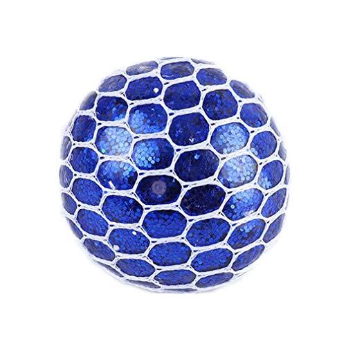 Mesh Squishy Ball Spielzeug Anti Stress Quetsch Gummi Vent Trauben Stress Relief Ball für Kinder Erwachsene Anti Stress von TheBigThumb, Blue Glitter Powder