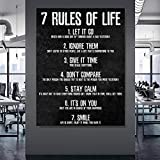7 Rules of Life Watch Your Thoughts Motivational Posters and Prints on The Wall Canvas Painting Wall Art Picture for Living Room 60x90 CM (sin marco)