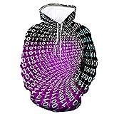 LONGDAY Unisex Long Sleeve 3D Funny Print Hoodies Realistic 3D Digital Print Pullover Hoodie Colorful Pattern Purple