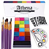 UCANBE Athena Face Body Paint Oil Makeup Set, 20 Colors FX Halloween Party Painting with Stainless Steel Mixing Palette and Spatula Tool,10 pcs Artist Paintbrushes,Tattoo Stencil Arts Crafts kit