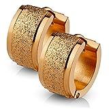 bungsa Rosegold pendientes con chorro de arena 4mm I acero inoxidable Huggies para las mujeres & hombres
