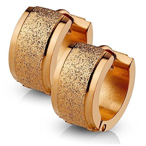 Bungsa® Rosegold - Creolen sandgestrahlt 4mm - 4 FARBEN - Edelstahl 1 Paar (Ohrringe Ohrschmuck Ohrklemmen Studs Damen Frauen Herren Mode Earrings)