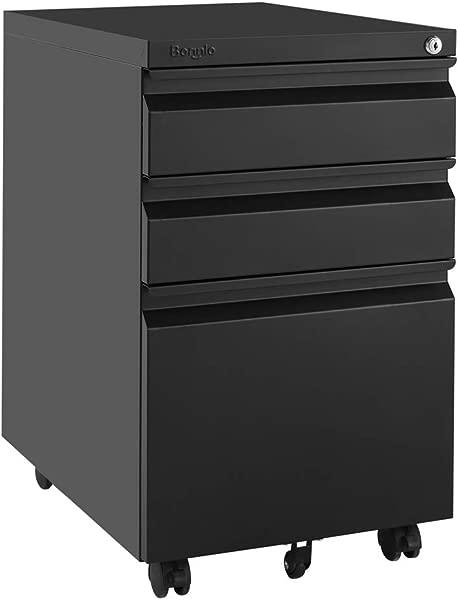 月 Bonnlo 抽屉移动文件柜带锁办公抽屉整装除下脚轮黑色