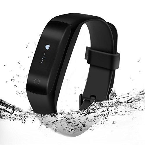 Pulsera inteligente impermeable Lenovo HW01 con Bluetooth 4.2, monitor de frecuencia cardíaca y registro de calorías para teléfonos iPhone y Android - Color negro