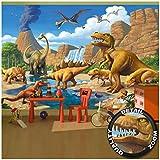 GREAT ART Mural De Pared Cuarto De Los Niños – Dinosaurios De Aventura – Dino Mundial Ilustración Estilo Cómico Jungla Cascada Papel Pintado Y Tapiz Y Decoración 336 x 238 cm