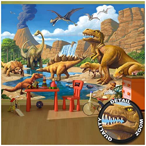 GREAT ART Mural De Pared Cuarto De Los Niños – Dinosaurios De Aventura – Dino Mundial Ilustración Estilo Cómico Jungla Cascada Papel Pintado Y Tapiz Y Decoración (336 x 238 cm)