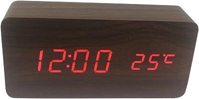 Dianoo oblongo de madera digital despertador, madera grano LED ligero alarma reloj con hora y