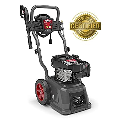Briggs & Stratton Gas Pressure Washer 2800 PSI 2.1 GPM with 25-Foot High Pressure Hose, 4 Nozzles & Detergent Injection