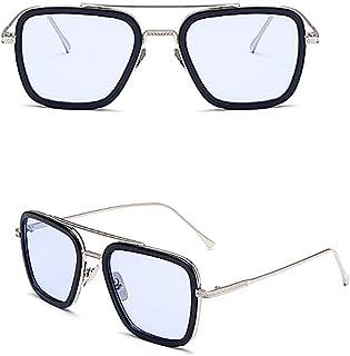 Mesky EU - Gafa de Sol Hombre de Araña EDITH Sunglasses Tony Stark Retro Glasses Hombre de Hierro Lejos de Casa para Hombre&Mujer Verano Vintage Cosplay Diario Viaje Costume Acceosrio Navidad (AZUL/GRIS)