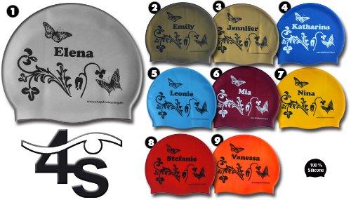 Silikon Badekappe mit Vornamen Damen & Mädchen Maria/Silicone Swim Cap with First Names for Ladies & Girls Maria