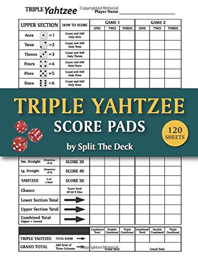 Triple Yahtzee Score Pads: 120 Large Score Sheets