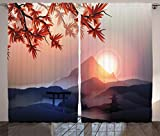 Ambesonne Asian Curtains, Majestic Himalayas Peaks Tops Silhouette of Sun Life Circle Culture Artwork, Living Room Bedroom Window Drapes 2 Panel Set, 108' X 84', Blue Pink