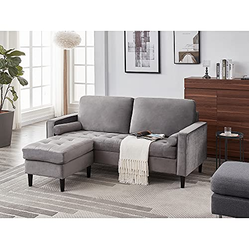 Panana Luxury 3 Seater Sofa with Footstool L Shaped Sofa Lounge Sofa Modern Velvet Fabric Sofa Couch Settee for Living Room Suite, Button Detailed Seat + Removable Footstool + 2 Free Cushions, Gray