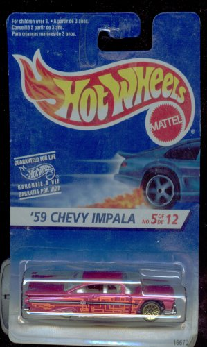 Hot Wheels 1996-5 of 12 '59 Chevy Impala 1:64 Scale