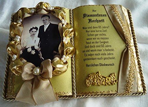 Diamantene Hochzeit -60-jähriges Ehejubiläum- Dekobuch beige/gold für Foto (mit Holz-Buchständer)