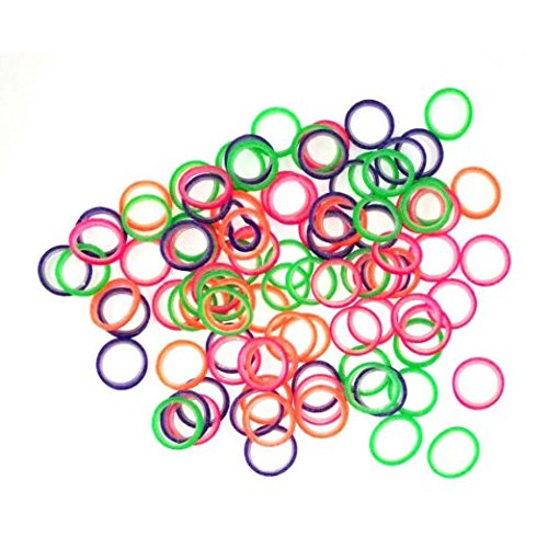 1/4' Inch Orthodontic Elastic Rubber Bands 100 Pack Neon Medium Force 4.5 oz for Bows, Dreadlocks, Dreads, Doll Hair, Braids, Horse Mane Tail, Tooth Gap + Free Elastic Placer for Braces by Cayenas