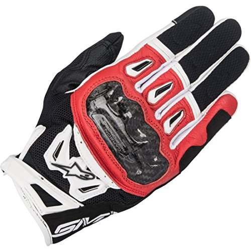 Gants Moto Alpinestars SMX-2 Air Carbon V2 Glove Black Red White, Noir/Blanc/Rouge, M
