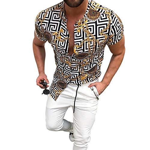 Camisas de Manga Corta Estampadas con Cuello levantado para Hombre Camisas Informales al Aire Libre con Botones de Personalidad Ajustados y Ajustados de Moda S