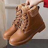 Mrzhou Botas para Mujer Botas de Nieve cálidas de Invierno Botas de Cuero de Terciopelo para Mujer Mujeres de Invierno Zapatos de Felpa (Color : WSH3431 Brown, Shoe Size : 11)