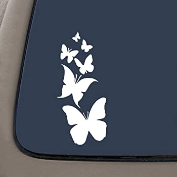 Laptop NI122 Butterfly Family- Die Cut Vinyl Window Decal//Sticker for Car Truck Premium Quality White Vinyl Decal 7 X 3