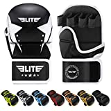 Elite Sports MMA Grappling Training Sparring Mitts Gloves, Best MMA Gloves for Grappling Martial Arts (Black/White, Large/X-Large)