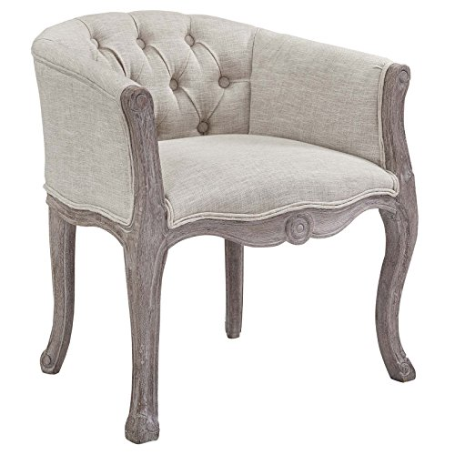 Modway Crown French Vintage Barrel Back Tufted Upholstered Fabric Dining Armchair in Beige