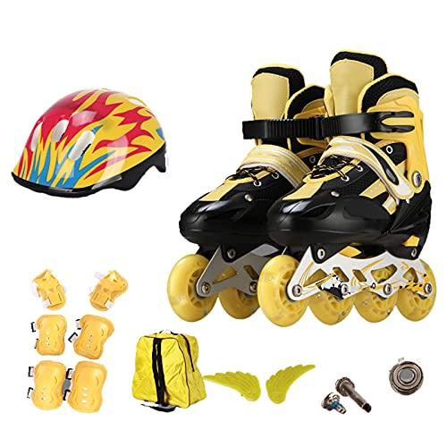 Inline Skates con Ruedas Luminosas,Patines en Línea para Niños,Rollerblade para niños niñas Principiantes,Patines en línea Ajustables,Patines Ruedas de Exterior e Interio(Size:S(27-31),Color:AMARILLO)