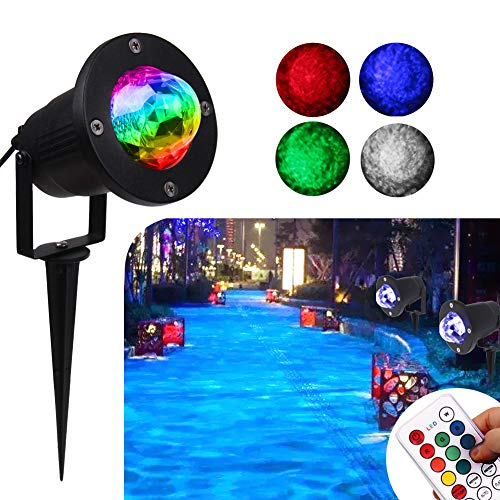 Water Wave Lights Christmas Projector - KOOT Outdoor Waterproof LED Ripple Garden Lights RGBW 10 Colors Water Effect or Flame Fire Effect with Remote for Patio Wedding Swimming Pool Display