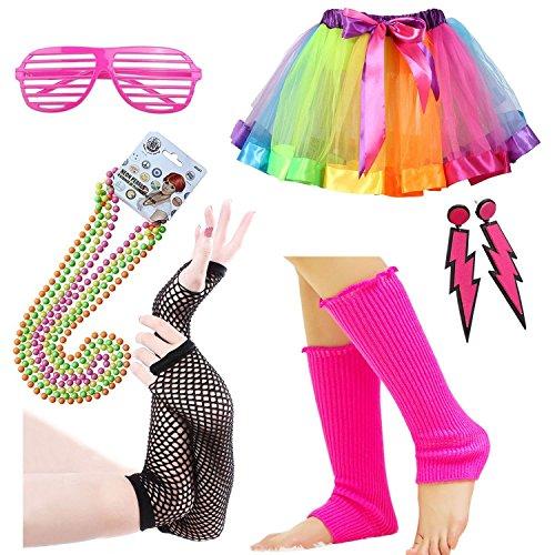 iLoveCos 80er Night Out Party Kleid Zubehör Regenbogen Neon Erwachsener Tutu,Beinwärmer,Fischnetz Handschuhe,Blitz Ohrringe,Fluoreszierende Halsketten,Sonnenbrille Mädchen Fraue 80s Fancy Dress(A2)